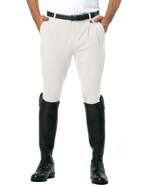 Ovation Men's Euroweave Pleat Knee Patch Breeches, White, hi-res