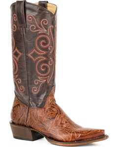 Roper Brown Faux Tooled Cowgirl Boots - Snip Toe , Brown, hi-res