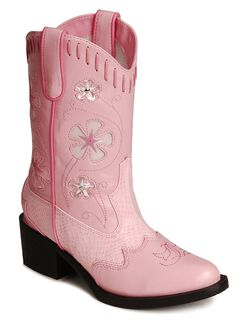 Roper Infant Girls' Floral Inlay Light Up Cowgirl Boots - Round Toe, , hi-res