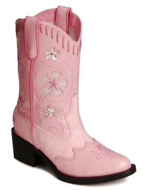 Roper Infant Girls' Floral Inlay Light Up Cowgirl Boots - Round Toe, Pink, hi-res