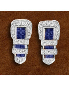 Kelly Herd Sterling Silver Rhinestone Encrusted Buckle Earrings, , hi-res
