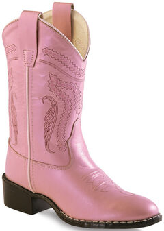Old West Girl Childrens' Pink Western Boots - Round Toe , , hi-res