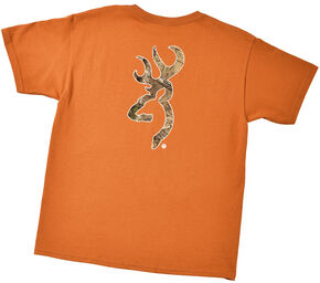 Browning Youth Boys' Orange Realtree Buckmark T-Shirt , Orange, hi-res