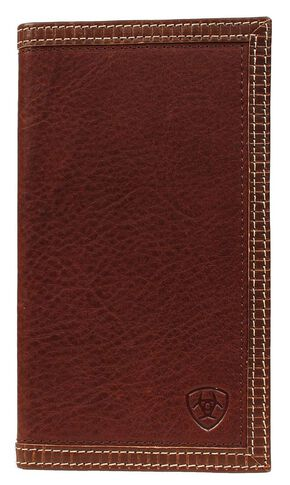 Ariat Brown Leather Rodeo Wallet, Tan, hi-res