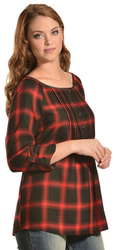 Red Ranch Red Plaid Pleather Trim Pleated Flannel Top , , hi-res