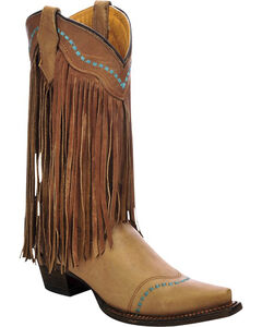 Corral Girls' Cowhide Fringe Cowgirl Boots - Snip Toe , , hi-res