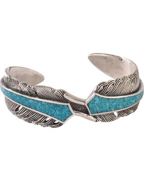 Silver Legends Women's Sterling Silver & Turquoise Feather Bracelet, Turquoise, hi-res