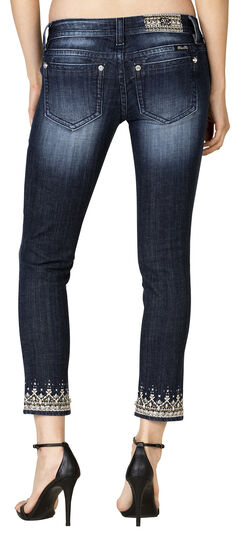 Miss Me Women's Dark Wash Embroidered Cuff Skinny Jeans, , hi-res