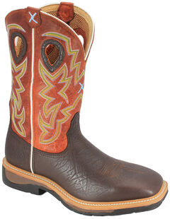 Twisted X Orange Lite Cowboy Work Boots - Soft Square Toe, , hi-res