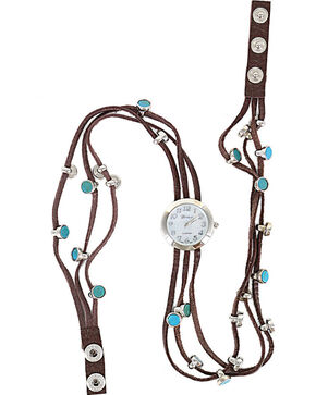 Shyanne Women's Turquoise Beaded Wraparound Watch , Brown, hi-res
