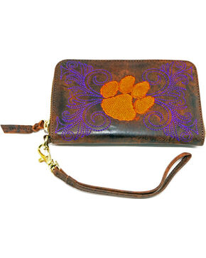 Gameday Boots Clemson University Leather Wristlet, Brass, hi-res