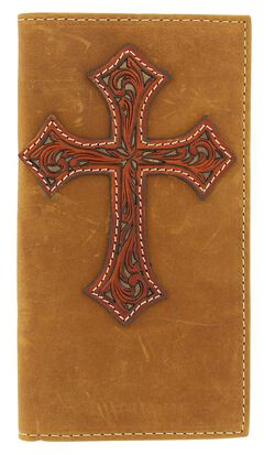 Nocona Tooled Cross Overlay Rodeo Wallet, , hi-res