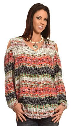 New Direction Sport Women's Cold Shoulder Print Shirt , , hi-res
