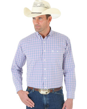 Wrangler George Strait One Pocket White, Red, Blue Poplin Shirt, White, hi-res