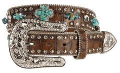 Nocona Turquoise-hue Stone Cross & Croc Print Leather Belt, , hi-res