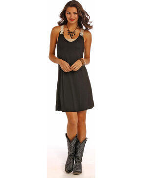 Panhandle Slim Women's Black Swing Crochet Lace Strap Dress, Black, hi-res