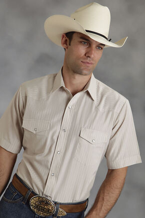 Roper Short Sleeve Beige Tone on Tone Striped Western Shirt, Beige, hi-res