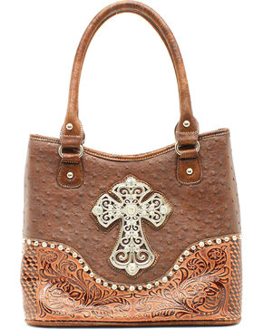Blazin Roxx Ostrich Print Crosses Shoulder Bag , Brown, hi-res