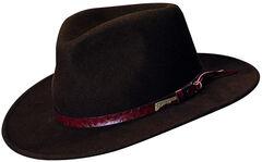 Indiana Jones Brown Leather Trim Wool Felt Fedora Hat, , hi-res