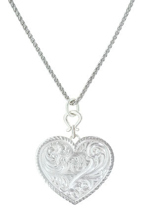 Montana Silversmiths True Western Heart Necklace , Silver, hi-res