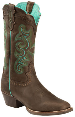 Justin Silver Turquoise Stitched Cowgirl Boots - Square Toe, , hi-res