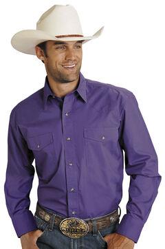 Roper Purple Poplin Western Shirt, , hi-res