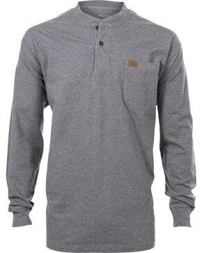 Wrangler Men's Riggs Workwear Long Sleeve Henley Shirt - Tall , Grey, hi-res