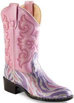 Old West Girls' Pink and Purple Zebra Stripe Western Boots - Round Toe , , hi-res