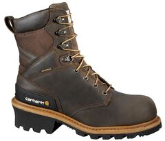 """Carhartt 8"""" Brown Waterproof Logger Boots - Safety Toe, , hi-res"""