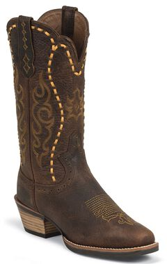 Justin Silver Leather Laced Cowgirl Boots - Square Toe, , hi-res