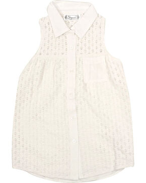 Shyanne Girls' Sleeveless Lace Top , Ivory, hi-res