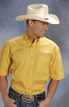 Roper Solid Yellow Poplin Short Sleeve Shirt, , hi-res