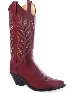Old West Women's Red Fashion Western Cowboy Boots - Snip Toe, , hi-res