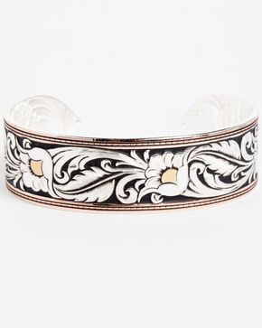 Montana Silversmiths Women's LeatherCut Tri-Colored Floral Cuff Bracelet, Silver, hi-res