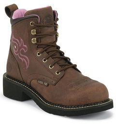 Justin Gypsy Aged Bark Work Boots - Steel Toe, , hi-res