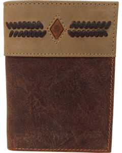 G-D Men's Two-Tone Trifold Stitch Design Checkbook Wallet, , hi-res