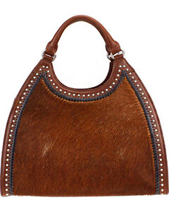 Montana West Delila Handbag 100% Genuine Leather Hair-On Hide Collection in Brown, , hi-res