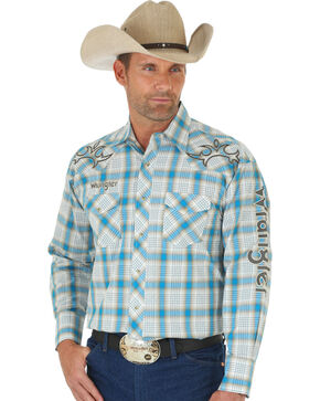 Wrangler Men's Blue and Khaki Plaid Logo Western Shirt , Multi, hi-res