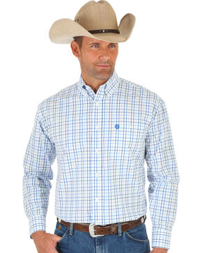 Wrangler George Strait White & Blue Poplin Plaid Western Shirt , White, hi-res