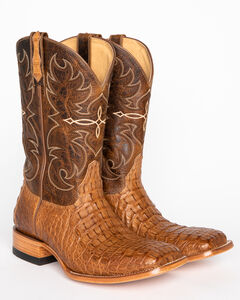 Cody James Men's Burnished Caiman Exotic Boots - Square Toe, , hi-res