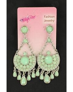 Blazin Roxx Mint Tear Drop Chandelier Earrings, , hi-res