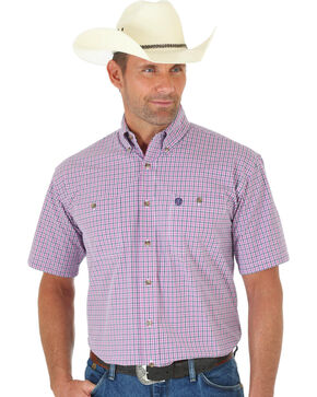 Wrangler George Strait Pink & Navy Plaid Short Sleeve Shirt , Pink, hi-res