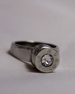 SouthLife Supply Women's Grace Bullet Ring in Traditional Silver with Crystal, , hi-res