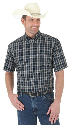 Wrangler George Strait Black Plaid Western Shirt , , hi-res