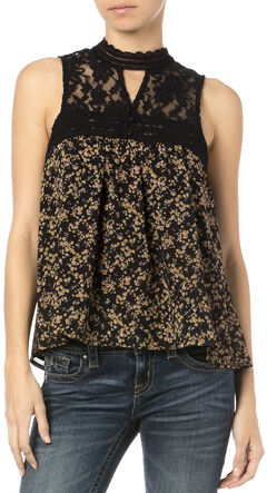 Miss Me Women's Victoria Floral Lace Sleeveless Top, , hi-res