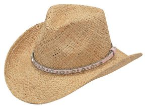 Youth Girls' Raffia Straw Cowgirl Hat, Tan, hi-res