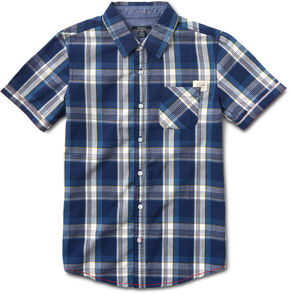 Silver Boys' Blue Short Sleeve Single Pocket Plaid Shirt , Blue, hi-res