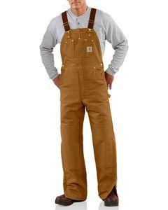 Carhartt Quilt Lined Duck Bib Overalls, Brown, hi-res