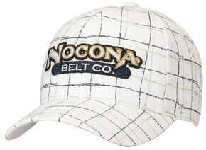 Nocona Logo Patch Plaid Cap, White, hi-res