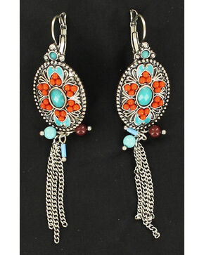 Blazin Roxx Turquoise and Red Stone Oval Chain Earrings, Multi, hi-res